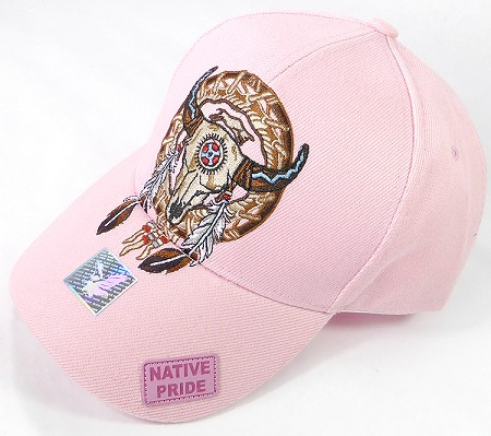 Wholesale Native Pride Cap - Buffalo Skull Dreamcatcher - Pink