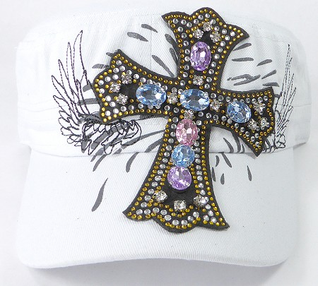 Wholesale Rhinestone Women's Cadet Hats - Angelic Cross - White
