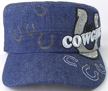 Wholesale Rhinestone Cowgirl Bling Cadet Hats - Dark Denim
