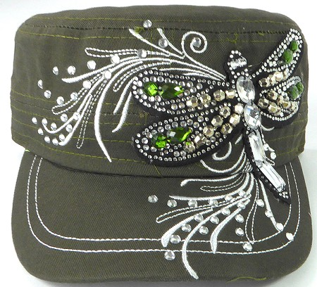 Wholesale Rhinestone Cadet Cap - Dragonfly - Olive Green