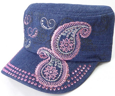 Wholesale Rhinestone Cadet Hats - Paisley - Dark Denim