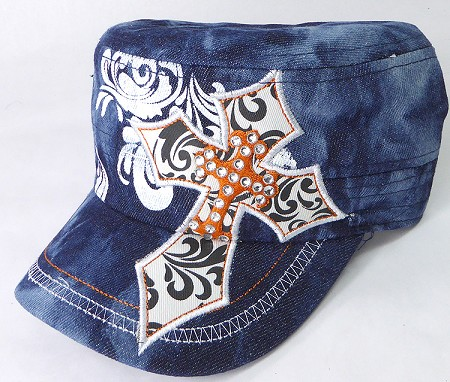 Wholesale Rhinestone Cadet Hats - Pointy Cross - Dark Splash Denim