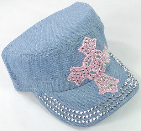 Wholesale Rhinestone Castro Cap - Pink Ring Cross - Light Denim