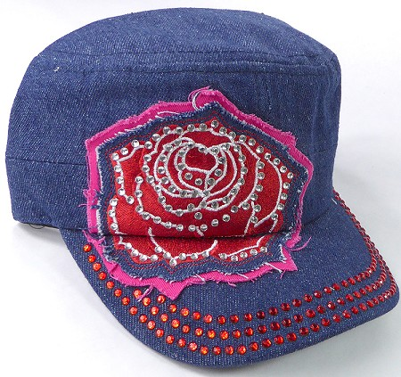 Wholesale Rhinestone Cadet Caps - Rose Distressed Patch - Dark Denim