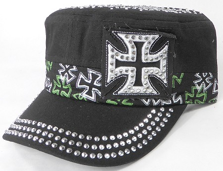 Wholesale Rhinestone Castro Caps - Classic Chopper - Black