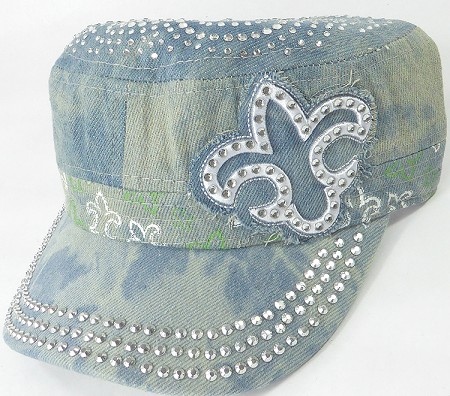 Wholesale Rhinestone Castro Caps - Classic Fleur de Lis - Splash Light Denim