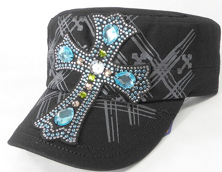 Wholesale Rhinestone Women's Cadet Hats - Turquoise Cross - Black