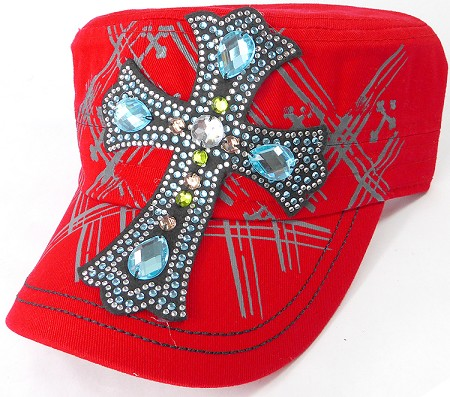 Wholesale Rhinestone Women's Cadet Hats - Turquoise Cross - Red