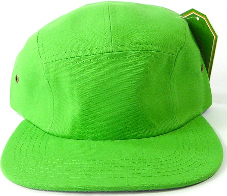 Blank 5 Panel Camp Hats/Caps Wholesale - Lime Green
