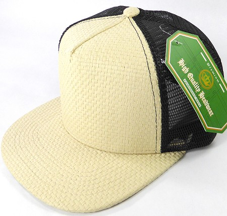 Wholesale Straw Mesh Trucker Snapback Hats - Beige - Black Mesh