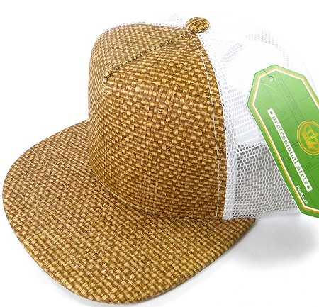 Wholesale Straw Mesh Trucker Snapback Hats - Brown - White Mesh