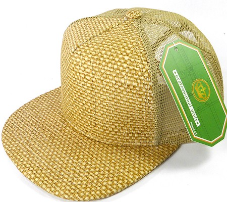 Wholesale Straw Mesh Trucker Snapback Hats - Natural Color - Khaki Mesh