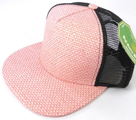 Wholesale Straw Mesh Trucker Snapback Hats - Pink - Black Mesh