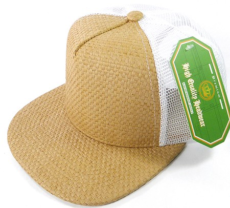 Wholesale Straw Mesh Trucker Snapback Hats - Solid Tan - White Mesh