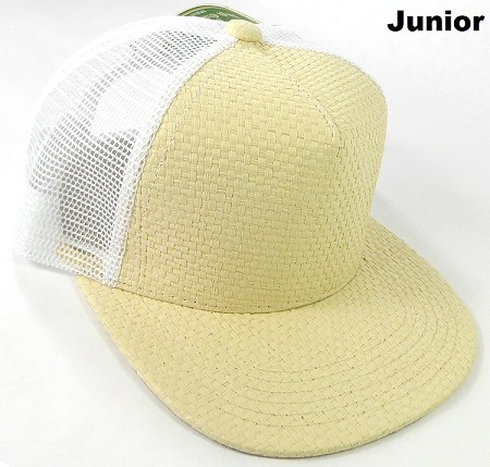 KIDS Junior Straw Trucker Snapback Hats - Beige - White Mesh