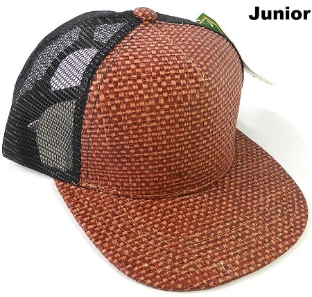KIDS Junior Straw Trucker Snapback Hats - Burgundy - Black Mesh