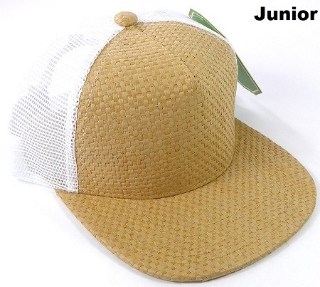 KIDS Junior Straw Trucker Snapback Hats - Solid Tan - White Mesh