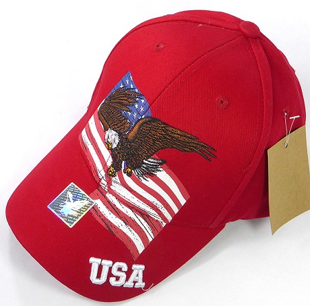 Wholesale Cotton USA Eagle Flag Baseball Cap - Red