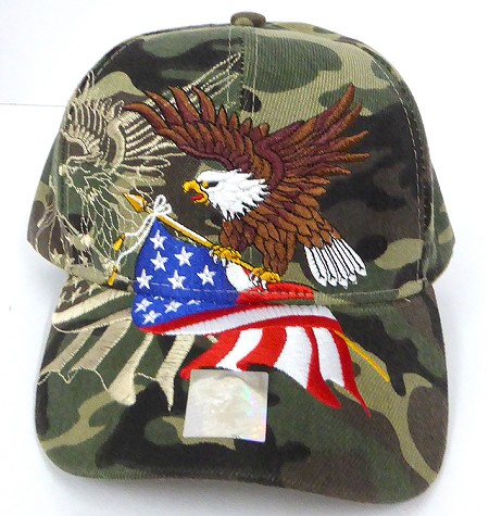 Wholesale USA Patriotic Eagle Baseball Caps -Green Camo