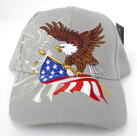Wholesale USA Patriotic Eagle Baseball Caps -Grey