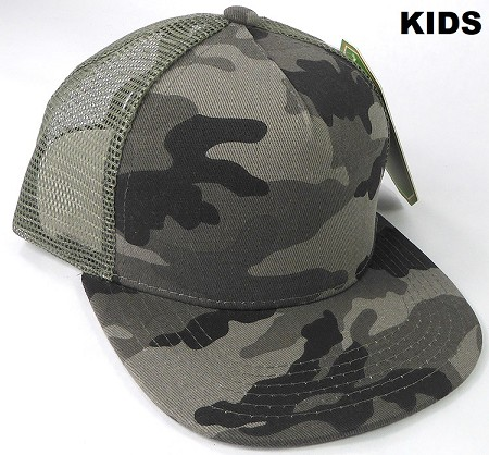 KIDS Junior Plain Trucker Snapback Caps - Charcoal Camo