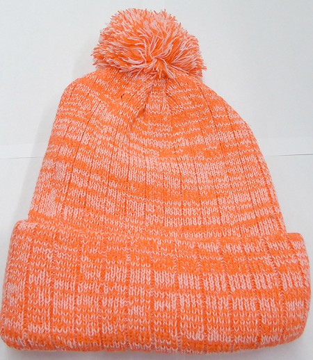 Knit Pom Pom Beanies Trendy Winter Hats - Mixed White and Orange