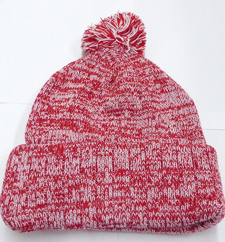 Knit Pom Pom Beanies Trendy Winter Hats - Mixed White and Red