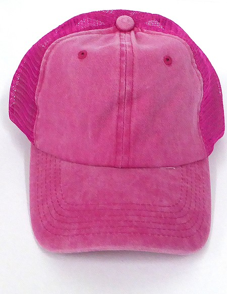 Pigment Dyed  Mesh Plain Baseball Cap - Clip Buckle -Hot Pink