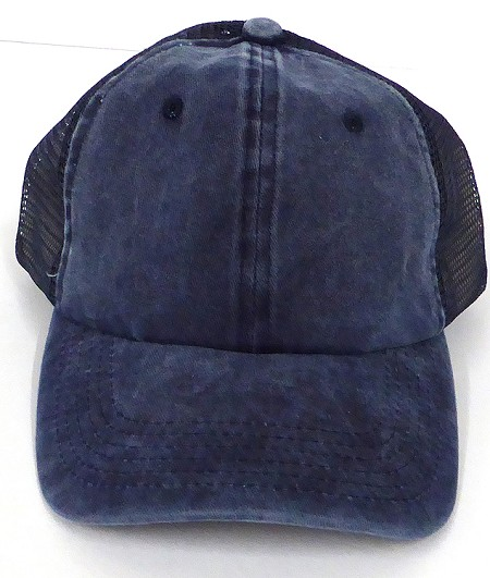 Pigment Dyed  Mesh Plain Baseball Cap - Clip Buckle - Navy