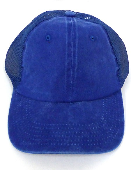 Pigment Dyed  Mesh Plain Baseball Cap - Clip Buckle -Royal Blue