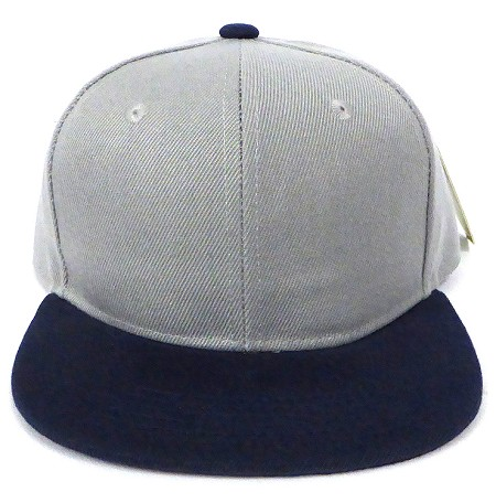 KIDS Jr. Plain Snapback Caps Wholesale - Light Grey Navy