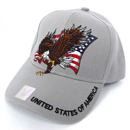 Wholesale USA Patriotic Eagle Baseball Cap -Grey