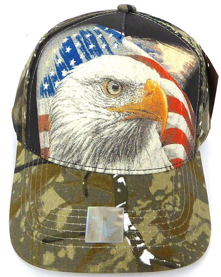 Wholesale USA Patriotic Eagle Baseball Cap -Hunting  Camo (black)