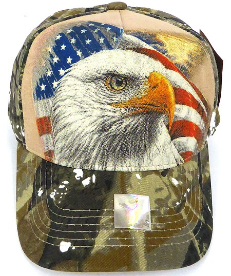 365d1d7a Wholesale USA Patriotic Eagle Baseball Cap -Hunting Camo (khaki)