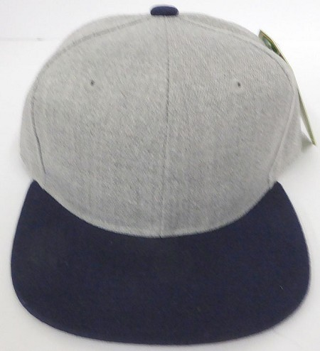 KIDS Junior Wholesale Blank Snapback Hats  - Denim Grey I Navy