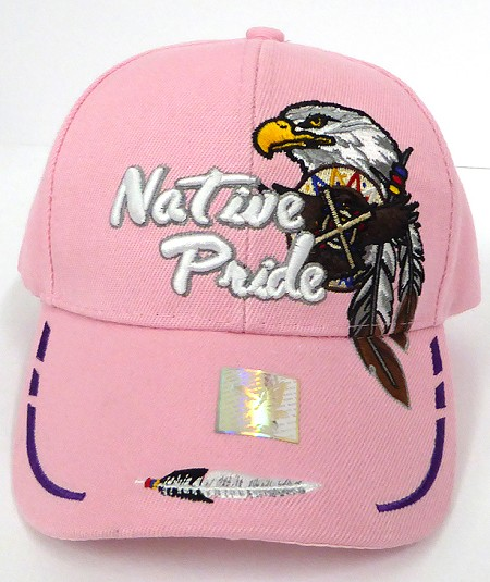 Wholesale Native Pride Baseball Cap - Eagle and Two Feathers - Pink