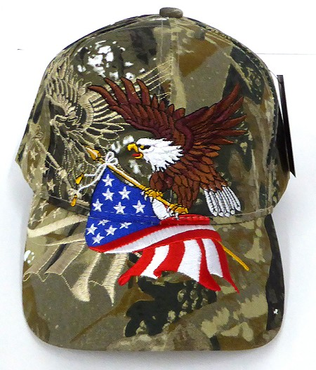 Wholesale USA Patriotic Eagle Baseball Hat - Hunting camo