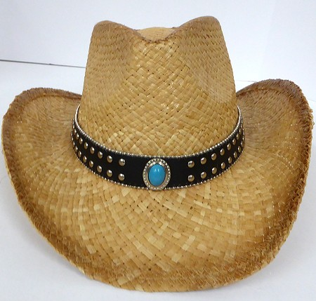 Cowboy Western Straw Hats Wholesale - Blue Button