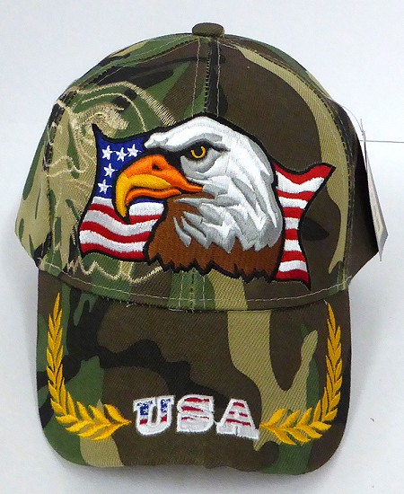 Wholesale USA Patriotic Eagle Baseball Cap - Green Camo