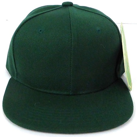 KIDS Junior Wholesale Blank Snapback Hats  - Solid D.Green