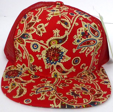 Wholesale Mesh Trucker 5 Panel Snapback Hats - Paisley - RED