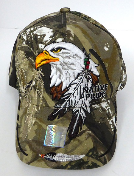 Wholesale Native Pride Baseball Cap - Big Eagle and Feather - Hunting Camo