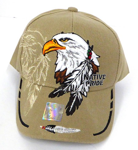 Wholesale Native Pride Baseball Cap - Big Eagle and Feather - Khaki