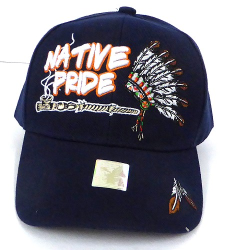 Wholesale Native Pride Baseball Cap - Chief Pipe - Navy