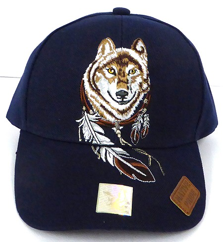 Wholesale Native Pride Baseball Cap - Dreamcatcher of Wolf -  NAVY