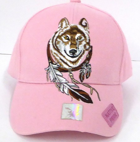 Wholesale Native Pride Baseball Cap - Dreamcatcher of Wolf -  Pink