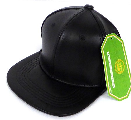 INFANT Baby  Wholesale Faux Leather  Blank Snapback Hats  -   Black