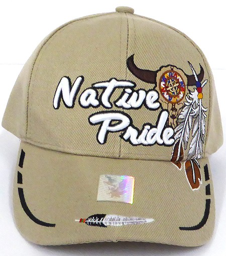Wholesale Native Pride Baseball Cap - Buffalo Skull - Khaki