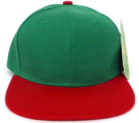 Blank Snapback Hats Caps Wholesale - Kelly Green | Red