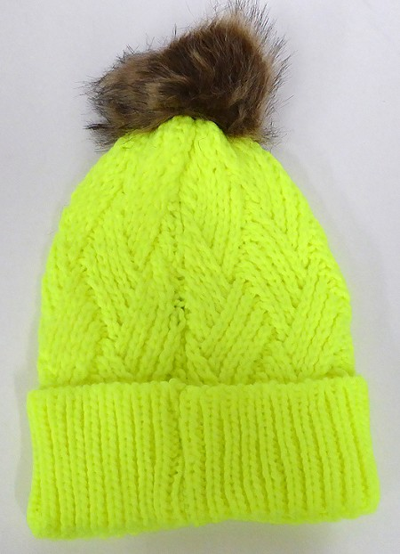 Wholesale Winter Fashion Fur Pom Pom Knit Beanies -  Neon Yellow